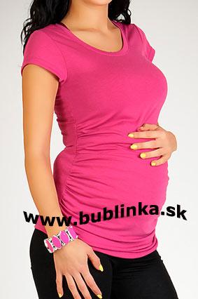 Tehotenské tričko s riasením, cyklamenové. Skladom L/XL