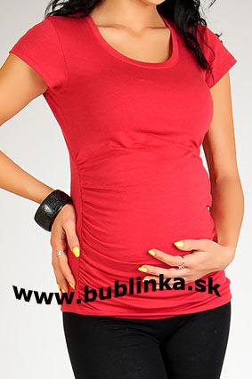 Tehotenské tričko s riasením, červené