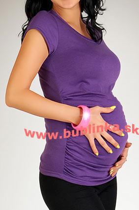 Tehotenské tričko s riasením, tamvofialové