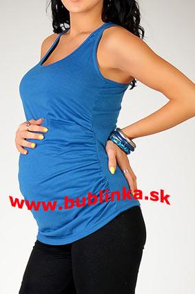 Tehotenské tielko s riasením, modré