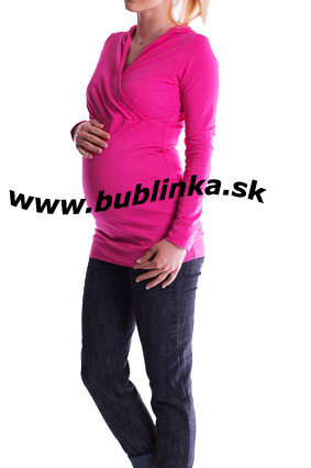 Tehotenské tričko aj na dojčenie, cyklamen. Skladom S/M a L/XL
