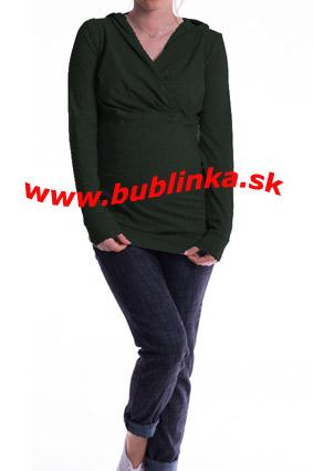 Tehotenské tričko aj na dojčenie, olivové. Skladom S/M a L/XL